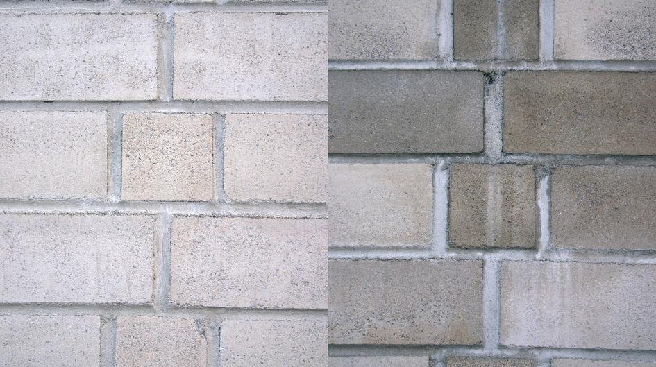 Die linke Wand ist mit Protectosil® SC CONCENTRATE behandelt. Selbst nach 8 Jahren der Bewitterung ist der Unterschied im Vergleich zur unbehandelten rechten Wand deutlich zu sehen.