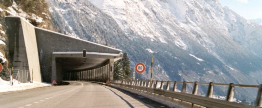Galleria Cianca Presella: a highway gallery in the Swiss Alps near the San Bernardino Pass.