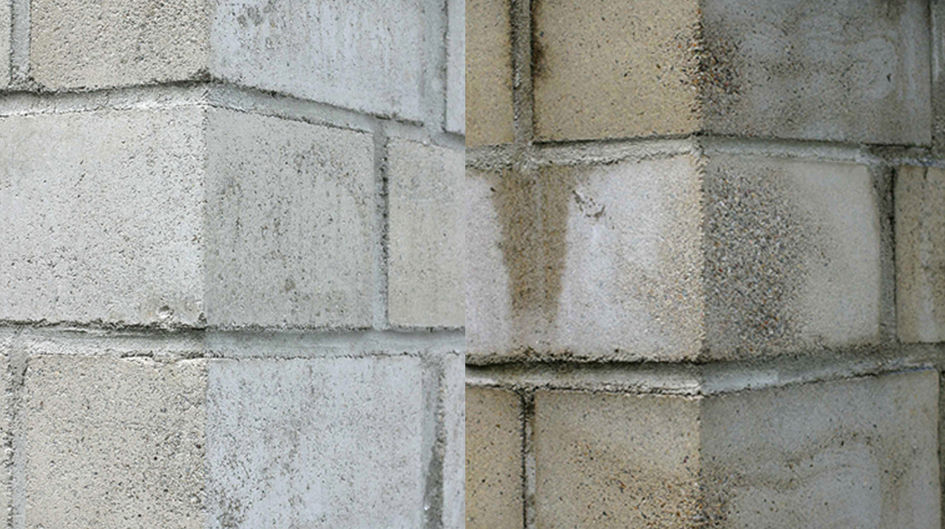 Protectosil® protects porous structures like concrete and sandstone from dirt and stains. The left wall is treated with Protectosil® SC CONCENTRATE. After eight years of outside weathering the difference is immediately obvious.