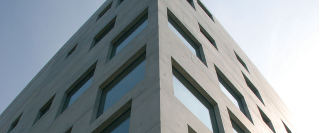 """The """"School of Design"""" in Essen, Germany, located in the area of the world cultural heritage, charming with its original, modern facade structure, is protected with Protectosil® SC 100 and Protectosil ANTIGRAFFITI® to keep the surface of the bright exposed concrete with differently sized, eye-catching windows clean."""