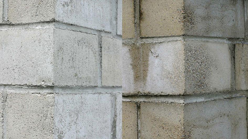Protectosil®は、コンクリートや砂岩などの多孔質構造物を汚れや汚れから守ります。左の壁はProtectosil® SC CONCENTRATEで処理されています。8年間屋外で風化させると、その違いは一目瞭然です