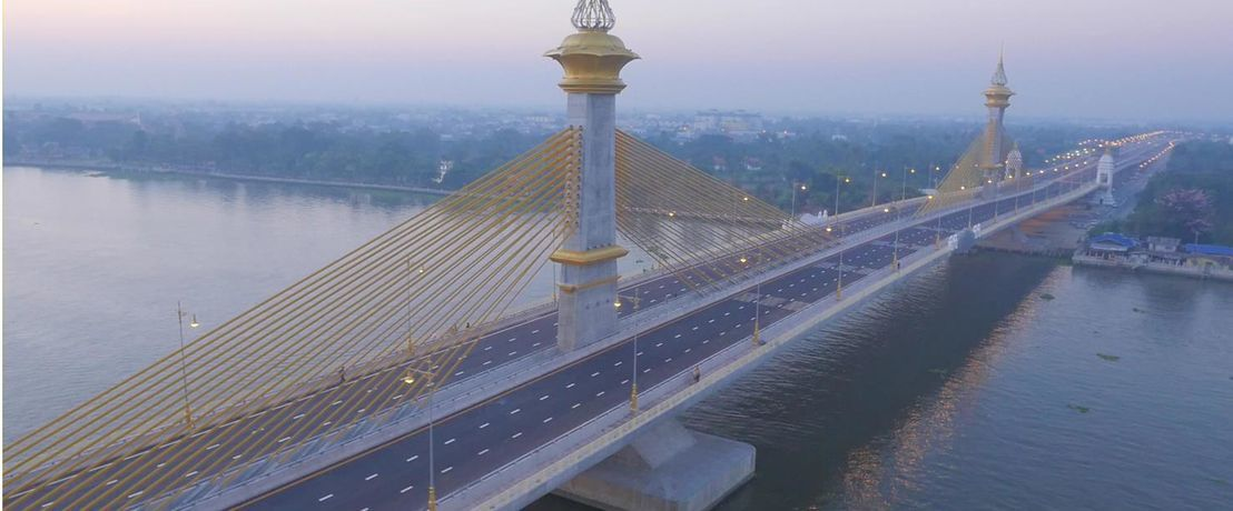 Chao Phraya River Crossing Bridge in Thailand